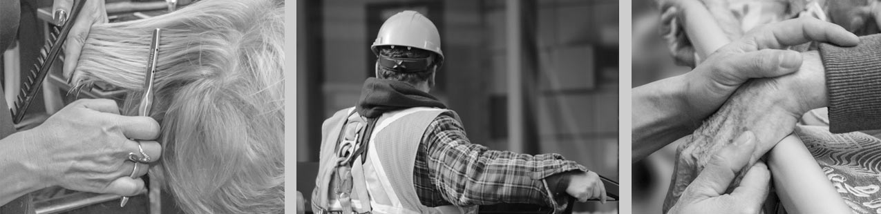 Bild aus drei Teilen links Friseurberuf, mittig Bauarbeiter, rechts pflegende Hände